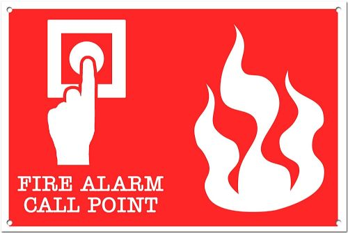 Fire Alarm Call Point Brushed Aluminium Metal Sign